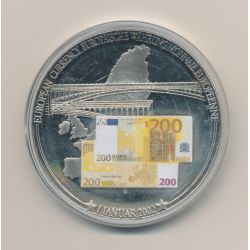 Médaille 70mm - Billet 200 Euro - 2002 - argentan