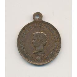 Médaillon - Napoléon Prince impérial et Napoléon III - laiton - 23mm - TTB