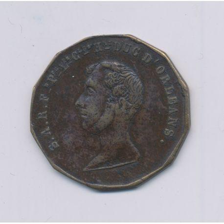 Médaillon - Ferdinand Philippe - Duc d'Orléans - Souvenir du déplorable événement 13 juillet 1842 - laiton - 26mm - TB