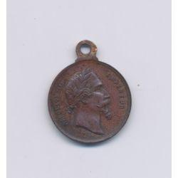 Médaillon - Bataille de Solférino - Napoléon III - 1859 - bronze - 13mm - TTB