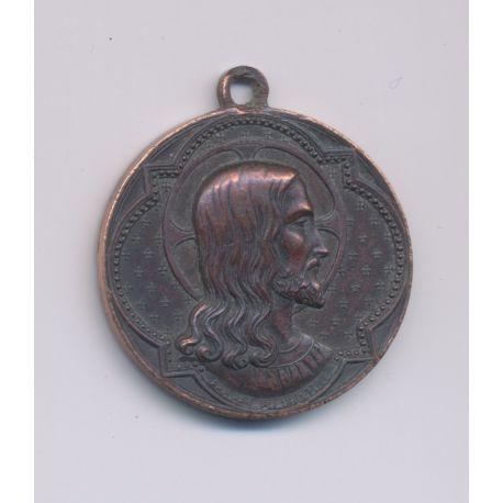 Médaillon - Jésus Christ - INS - bronze - 25mm - TTB+