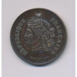 Médaille - Souvenir de fête nationale - 14 juillet 1881 - laiton - 32mm - TB
