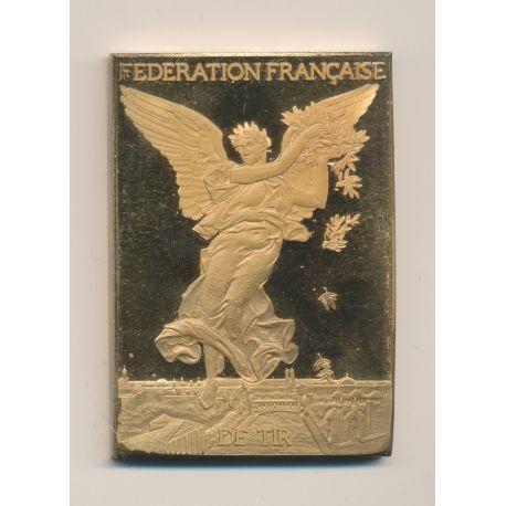 Plaquette - Fédération Française de Tir - Centenaire 1886-1986 - bronze doré - numéroté sur la tranche - SUP