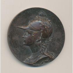 Médaille - Buste femme cuirassée - bronze - 50mm - TTB