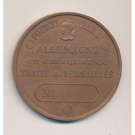 Médaille - Fourni par l'Allemagne en exécution du traite de Versailles - cuivre - uniface - 51mm - TTB+