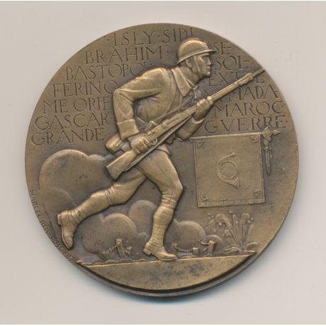 Médaille - Chasseurs à pied - Honneur et Patrie 1937 - Marcel Renard - Tranche sans date juste poinçon bronze - 59mm - SUP