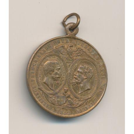 Médaillette - Alliance Franco Sarde pour l'Indépendance de l'Italie - 1859 - laiton - 27mm - SUP