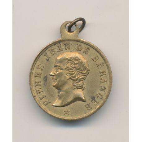 Médaille - Pierre Jean de Béranger - 1780/1857 - laiton - 23mm - TTB+
