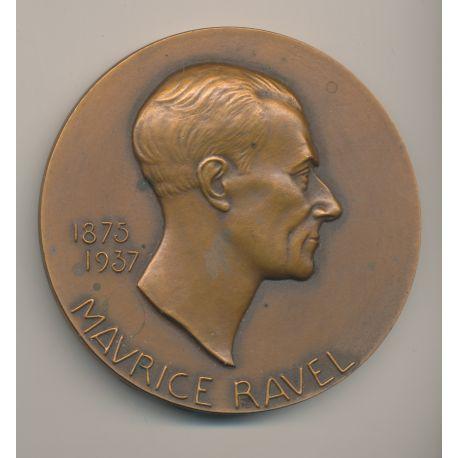 Médaille - Maurice Ravel - 1875-1937 - P.Poisson - bronze - 81mm - TTB+