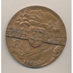 Médaille - Conseil général Isère - par Quérolle - bronze - 89mm - TTB+