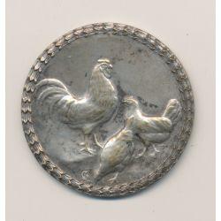 Médaille - Société d'aviculture de Cherbourg et du Cotentin - bronze argenté - 45mm - TTB+