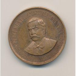 Médaille - Souscripteur crédit Péronnais - Ferdinand De Lesseps - 1888 - bronze - 36mm - SUP