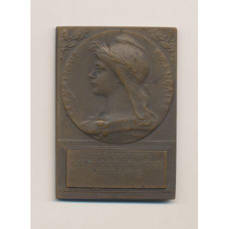 Plaquette - Association Sténographique - 1902-1908 - bronze - Roty - TTB