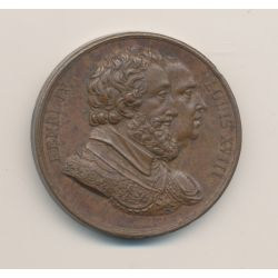 Médaille - Henri IV et Louis XVIII - bronze - 33mm - TTB+