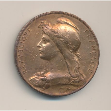 Médaille - République Française - Marianne - par Oscar Roty - bronze - TB+ - 42mm