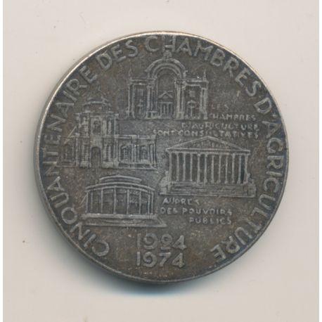 Médaille - Cinquantenaire des chambres d'agriculture - 1924-1974 - bronze argenté - 35mm - TTB