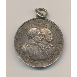 Médaille - 50e anniversaire infanterie - Wilhelm I et II - argent - 33mm - SUP