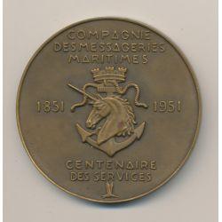 Médaille - Compagnie des messageries maritimes - Centenaire 1851-1951 - bronze - 59mm - TTB