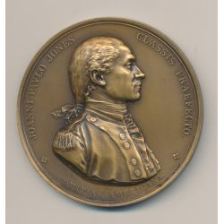 Médaille - John Paul Jones - Capture de la frégate Anglaise HMS Sérapis - 1779 - refrappe MDP - bronze - 56mm - SUP