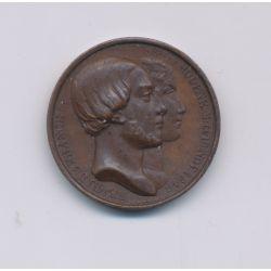 Médaille - Henri V et Marie thérèse de modène - 1846 - cuivre - 20mm - TTB+
