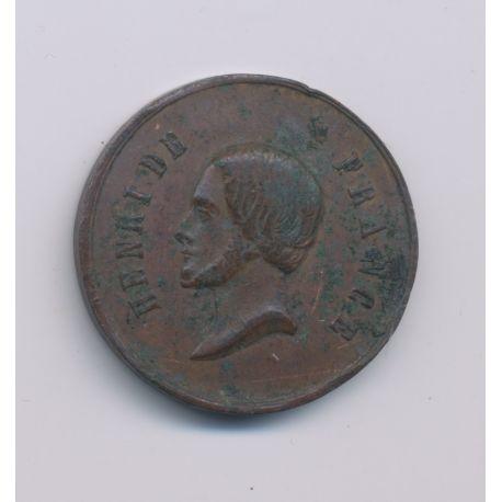 Médaille - Henri V - portrait à gauche - rides SPES - cuivre - 23mm - TB