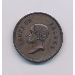 Médaille - Henri V - portrait à gauche - rides SPES - cuivre - 23mm - TTB+