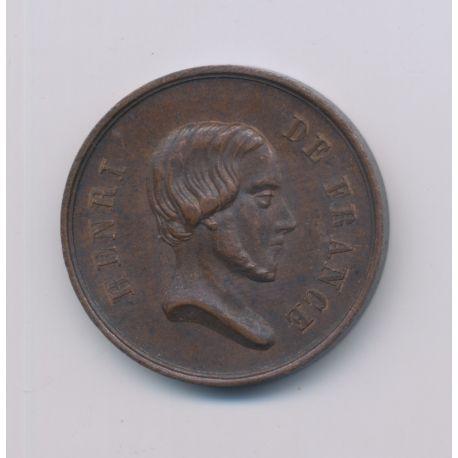 Médaille - Henri V - portrait à droite - rides SPES - cuivre - 23mm - TTB