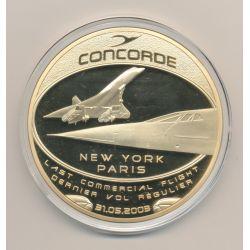 Médaille Concorde - Dernier Vol New-York-Paris - cuivre doré et colorisé - 70mm
