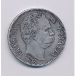 Italie - 5 Lire - 1878 R - Umberto I - TTB