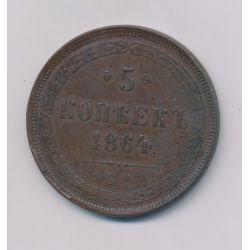 Russie - 5 Kopek - 1864 EM - Alexandre II - cuivre - TB+