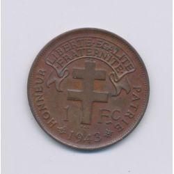 Afrique équatoriale Française libre - 1 Franc - 1943 - bronze - TTB+