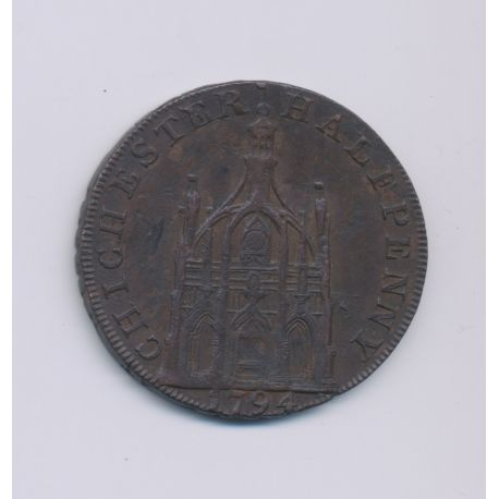 Angleterre - Token - 1/2 Penny Chichester - 1794 - cuivre - TTB