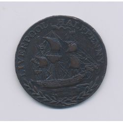 Angleterre - Token - 1/2 Penny Liverpool - 1794 - cuivre - TTB