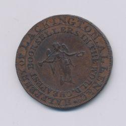 Angleterre - Token - 1/2 Penny J.Lackington - 1794 - cuivre - TTB