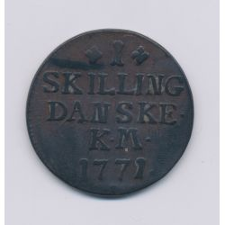 Danemark - 1 Skilling - 1771 KM - Christian VII - cuivre - TB+