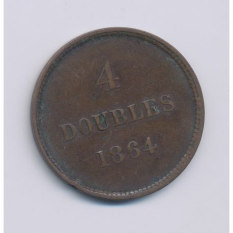Guernesey - 4 Doubles - 1864 - bronze - TB/TTB