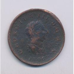 Angleterre - George III - 1/2 Penny 1806 - cuivre - B/TB