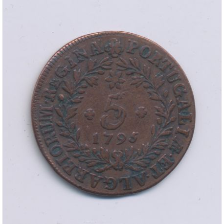 Acores - 5 Reis - 1795 - cuivre - TTB