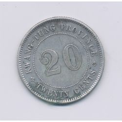 Chine - 20 Cents - Province kwang-tung - argent - TTB