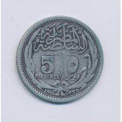 Egypte - 5 Piastres - 1916 - argent - TTB