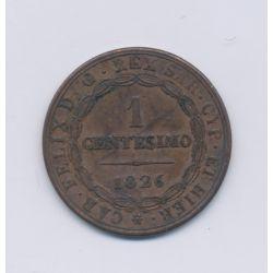 Italie - Centesimo - 1826 - Sardaigne - bronze - TTB