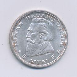 Lituanie - 5 Litai - 1936 - argent - TTB+
