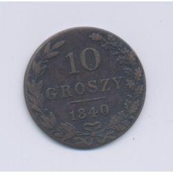 Pologne - 10 Groszy - 1840 - cuivre - TB+