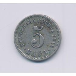 Serbie - 5 Para - 1912 - nickel - TB