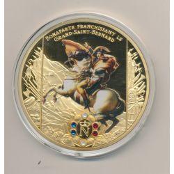 Médaille - Bonaparte franchissant le grand-saint bernard  - Collection Napoléon Bonaparte - couleur et insert swarovski - 70mm