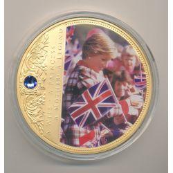 Médaille 70mm - Collection Lady Diana N°7 - portrait d'une princesse - avec insert Swarovski