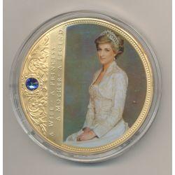 Médaille 70mm - Collection Lady Diana N°2 - portrait d'une princesse - avec insert Swarovski