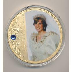 Médaille 70mm - Collection Lady Diana N°3 - portrait d'une princesse - avec insert Swarovski
