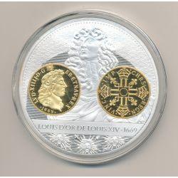 Médaille - Louis d'or Louis XIV 1669 - Histoire de la monnaie Française - 70mm