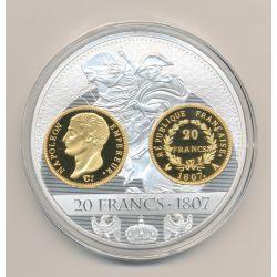 Médaille - 20 Francs Or 1807 A Napoléon Empereur - Histoire de la monnaie Française - 70mm
